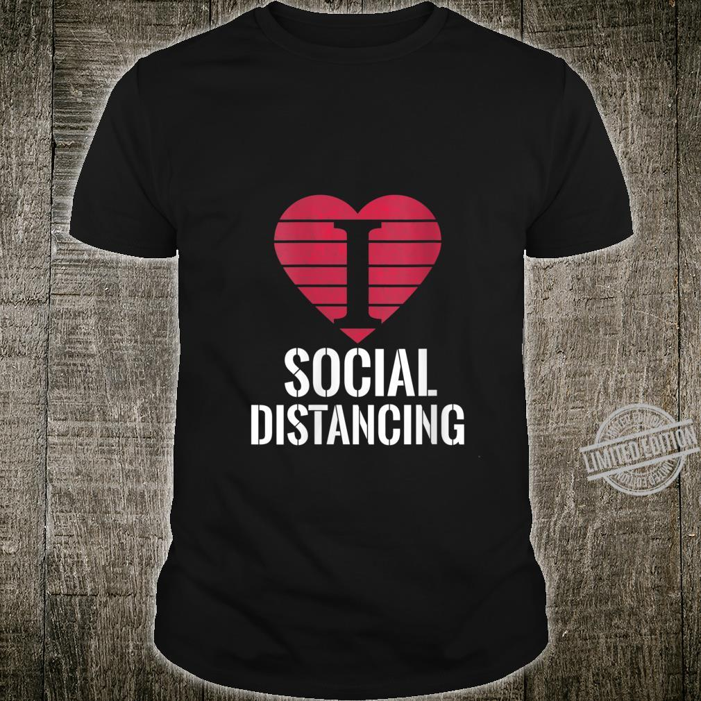 Womens I Love Social Distancing Shirt AntiSocial Vintage Heart Shirt