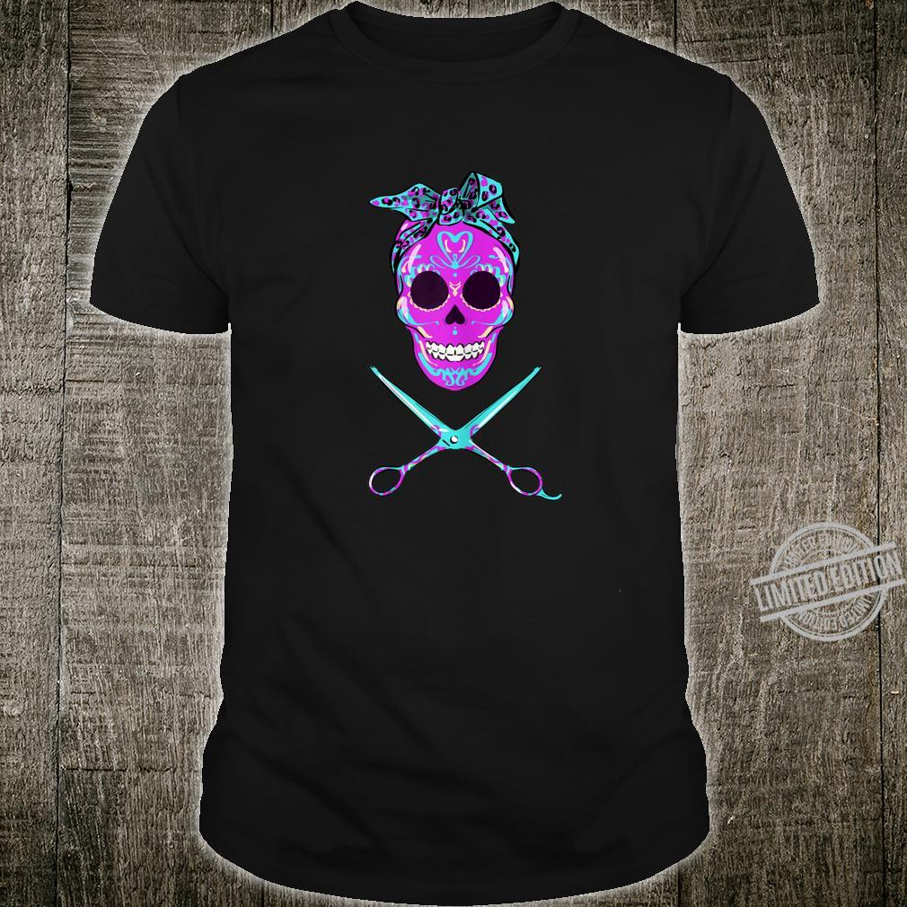 Women's Vintage Sugar Skull Hairdresser Hair Stylist Scissors Shirt
